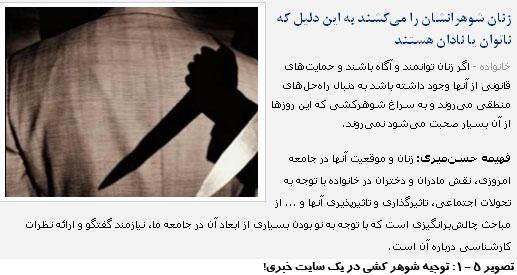 پوشش سایت های خبری برای فمینیست ها در توجیه شوهر کشی